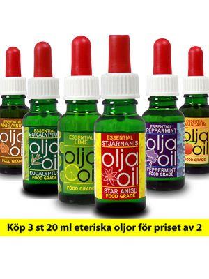 Köp 3 st 20 ml eteriska oljor för priset av 2